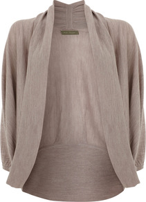 Mink Cocoon Cardigan - sleeve style: dolman/batwing; pattern: plain; neckline: shawl; style: open front; predominant colour: taupe; occasions: casual, work; length: standard; fibres: acrylic - 100%; fit: loose; sleeve length: 3/4 length; texture group: knits/crochet; pattern type: knitted - other; pattern size: standard