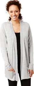 Open Front Studded Cardigan With Linen - pattern: plain; bust detail: added detail/embellishment at bust; length: below the bottom; hip detail: front pockets at hip; neckline: collarless open; style: open front; predominant colour: light grey; occasions: casual, work; fibres: acrylic - mix; fit: loose; sleeve length: long sleeve; sleeve style: standard; texture group: knits/crochet; pattern type: knitted - fine stitch; pattern size: small & light; embellishment: studs
