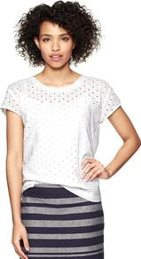 Eyelet Shirt - pattern: plain; style: t-shirt; predominant colour: white; occasions: casual, work; length: standard; fibres: cotton - 100%; fit: body skimming; neckline: crew; shoulder detail: added shoulder detail; sleeve length: short sleeve; sleeve style: standard; texture group: cotton feel fabrics; pattern type: fabric; pattern size: small & busy