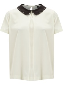 Women's Solid Collar Blouse, Cream - pattern: plain; style: blouse; bust detail: ruching/gathering/draping/layers/pintuck pleats at bust; predominant colour: ivory; occasions: casual, evening, work; length: standard; fibres: polyester/polyamide - 100%; fit: tailored/fitted; neckline: no opening/shirt collar/peter pan; back detail: keyhole/peephole detail at back; sleeve length: short sleeve; sleeve style: standard; texture group: sheer fabrics/chiffon/organza etc.; pattern type: fabric; pattern size: standard