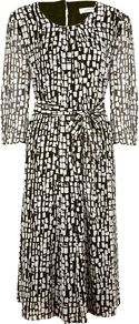 Women's Modern Block Print Dress, Multi Coloured - style: a-line; length: below the knee; neckline: round neck; waist detail: belted waist/tie at waist/drawstring; predominant colour: black; occasions: casual, evening, occasion; fit: soft a-line; fibres: polyester/polyamide - 100%; hip detail: soft pleats at hip/draping at hip/flared at hip; sleeve length: 3/4 length; sleeve style: standard; trends: statement prints; pattern type: fabric; pattern size: small & busy; pattern: patterned/print; texture group: jersey - stretchy/drapey