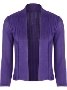 Women&#x27;s Blackberry Ribbed Cardigan, Purple - pattern: plain; neckline: collarless open; shoulder detail: contrast pattern/fabric at shoulder; style: open front; predominant colour: purple; occasions: casual, evening, work, holiday; length: standard; fibres: polyester/polyamide - stretch; fit: standard fit; bust detail: contrast pattern/fabric/detail at bust; sleeve length: 3/4 length; sleeve style: standard; pattern type: knitted - fine stitch; texture group: jersey - stretchy/drapey