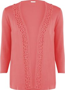 Women's Coral Lace Trim Cardigan, Orange - pattern: plain; neckline: collarless open; style: open front; predominant colour: coral; occasions: casual; length: standard; fibres: viscose/rayon - stretch; fit: standard fit; sleeve length: 3/4 length; sleeve style: standard; texture group: lace; pattern type: fabric; pattern size: small & busy