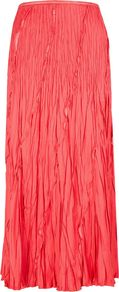 Women's Coral Crinkle Skirt, Orange - pattern: plain; fit: body skimming; waist detail: elasticated waist; waist: mid/regular rise; predominant colour: coral; occasions: casual, evening, work, holiday; length: floor length; style: maxi skirt; fibres: polyester/polyamide - 100%; hip detail: structured pleats at hip; texture group: silky - light; trends: fluorescent; pattern type: fabric; pattern size: standard