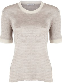 Women's Champagne Crinkle Top, Cream - pattern: plain; predominant colour: champagne; occasions: casual, evening, work; length: standard; style: top; fibres: polyester/polyamide - 100%; fit: body skimming; neckline: crew; sleeve length: short sleeve; sleeve style: standard; texture group: jersey - clingy; pattern type: fabric; pattern size: standard