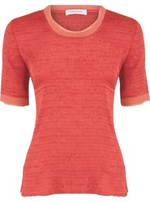 Women's Coral Crinkle Top, Orange - neckline: round neck; pattern: plain; predominant colour: coral; occasions: casual, work; length: standard; style: top; fibres: polyester/polyamide - 100%; fit: body skimming; sleeve length: short sleeve; sleeve style: standard; pattern type: fabric; texture group: jersey - stretchy/drapey