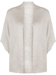 Women's Champagne Sequin Cardigan, Cream - sleeve style: dolman/batwing; neckline: collarless open; style: open front; predominant colour: champagne; occasions: casual, evening; length: standard; fibres: polyester/polyamide - 100%; fit: slim fit; sleeve length: 3/4 length; texture group: knits/crochet; trends: metallics; pattern type: knitted - fine stitch; embellishment: sequins