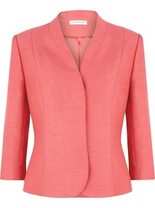 Women&#x27;s Coral Jacket, Coral - pattern: plain; style: single breasted blazer; collar: shawl/waterfall; predominant colour: coral; occasions: evening, work, occasion; length: standard; fit: tailored/fitted; fibres: polyester/polyamide - 100%; waist detail: fitted waist; sleeve length: 3/4 length; sleeve style: standard; collar break: high; pattern type: fabric; pattern size: standard; texture group: woven light midweight