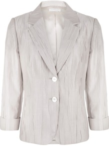 Women's Champagne Crinkle Jacket, Cream - pattern: plain; style: single breasted blazer; bust detail: added detail/embellishment at bust; collar: standard lapel/rever collar; predominant colour: stone; occasions: evening, work, occasion; length: standard; fit: tailored/fitted; fibres: polyester/polyamide - mix; waist detail: fitted waist; sleeve length: 3/4 length; sleeve style: standard; texture group: structured shiny - satin/tafetta/silk etc.; trends: metallics; collar break: medium; pattern type: fabric; pattern size: standard
