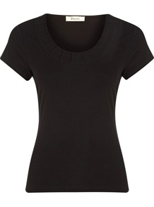 Women&#x27;s Black Pintuck Detail Jersey Top, Black - neckline: round neck; pattern: plain; style: t-shirt; predominant colour: black; occasions: casual, work; length: standard; fibres: polyester/polyamide - stretch; fit: body skimming; sleeve length: short sleeve; sleeve style: standard; pattern type: fabric; pattern size: standard; texture group: jersey - stretchy/drapey