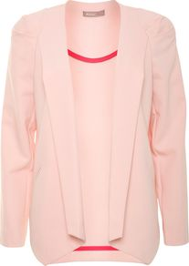 Women's Pintuck Blazer, Peach - pattern: plain; style: single breasted blazer; collar: shawl/waterfall; predominant colour: coral; occasions: casual, evening, work, occasion; length: standard; fit: straight cut (boxy); fibres: polyester/polyamide - stretch; shoulder detail: structured/bulky pleats/bulky detail at shoulder; sleeve length: long sleeve; sleeve style: standard; texture group: crepes; trends: tuxedo; collar break: low/open; pattern type: fabric; pattern size: standard