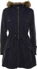 Women&#x27;s Long Sleeve Hood Parka, Navy - pattern: plain; collar: funnel; fit: loose; style: parka; back detail: hood; length: mid thigh; predominant colour: navy; occasions: casual, work; fibres: polyester/polyamide - 100%; waist detail: belted waist/tie at waist/drawstring; sleeve length: long sleeve; sleeve style: standard; texture group: fur; collar break: high; pattern type: fabric; pattern size: standard