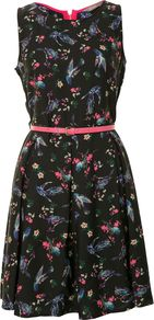 Women&#x27;s Belted Skater Dress, Black - sleeve style: sleeveless; waist detail: belted waist/tie at waist/drawstring; predominant colour: black; occasions: casual, evening, occasion; length: just above the knee; fit: fitted at waist &amp; bust; style: fit &amp; flare; fibres: polyester/polyamide - 100%; neckline: crew; hip detail: structured pleats at hip; sleeve length: sleeveless; texture group: silky - light; trends: statement prints; pattern type: fabric; pattern size: small &amp; busy; pattern: florals