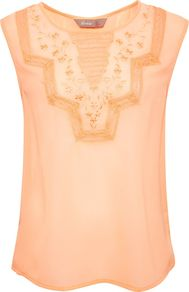 Women's Lace Embroidered Top, Coral - neckline: round neck; sleeve style: sleeveless; bust detail: added detail/embellishment at bust; back detail: low cut/open back; shoulder detail: contrast pattern/fabric at shoulder; predominant colour: coral; occasions: casual, evening, work, holiday; length: standard; style: top; fibres: polyester/polyamide - 100%; fit: body skimming; sleeve length: sleeveless; texture group: sheer fabrics/chiffon/organza etc.; trends: modern geometrics; pattern type: fabric; pattern size: small & light; embellishment: embroidered