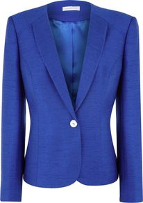 Women&#x27;s Pacific Blue Occasion Jacket, Blue - pattern: plain; style: single breasted blazer; collar: shawl/waterfall; predominant colour: indigo; occasions: casual, evening, work, occasion; length: standard; fit: tailored/fitted; fibres: polyester/polyamide - mix; sleeve length: long sleeve; sleeve style: standard; collar break: medium; pattern type: fabric; pattern size: standard; texture group: woven light midweight