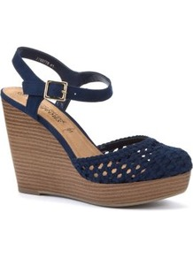 Navy Crochet Wood Effect Wedges - predominant colour: navy; occasions: casual, work, holiday; material: fabric; heel height: high; ankle detail: ankle strap; heel: wedge; toe: round toe; style: slingbacks; finish: plain; pattern: knit