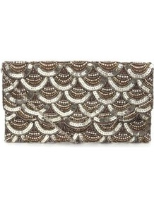 Gold Scallop Bead Clutch - predominant colour: gold; occasions: evening, occasion; type of pattern: standard; style: clutch; length: hand carry; size: small; material: satin; embellishment: beading; trends: metallics; finish: metallic; pattern: patterned/print