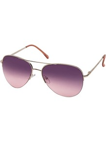 Pink Dahlia Aviator - predominant colour: purple; occasions: casual, holiday; style: aviator; size: standard; material: chain/metal; pattern: plain; finish: metallic