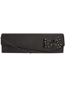 Black Beaded Bow Satin Bag - predominant colour: black; occasions: evening, occasion; style: clutch; length: hand carry; size: small; material: satin; pattern: plain; finish: plain; embellishment: bow
