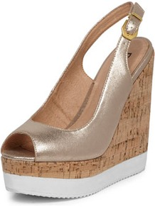 Gold Sling Back Peep Toe Wedge - predominant colour: gold; occasions: casual, evening, work, occasion, holiday; material: faux leather; heel height: high; embellishment: buckles; heel: wedge; toe: open toe/peeptoe; style: slingbacks; trends: metallics; finish: metallic; pattern: two-tone