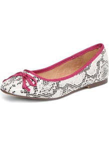 White Snake Print Ballet Pump - predominant colour: white; occasions: casual, evening, work, holiday; material: leather; heel height: flat; toe: round toe; style: ballerinas / pumps; trends: statement prints; finish: plain; pattern: animal print