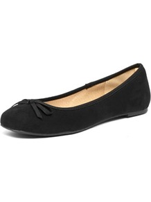 Black Square Toe Ballet Shoes - predominant colour: black; occasions: casual, work, holiday; material: fabric; heel height: flat; toe: square toe; style: ballerinas / pumps; finish: plain; pattern: plain