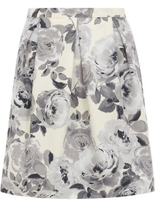 Floral Prom Skirt - style: full/prom skirt; fit: loose/voluminous; waist: mid/regular rise; predominant colour: light grey; occasions: casual, evening, work, holiday; length: just above the knee; fibres: cotton - 100%; hip detail: sculpting darts/pleats/seams at hip; waist detail: narrow waistband; texture group: cotton feel fabrics; trends: high impact florals; pattern type: fabric; pattern size: standard; pattern: florals