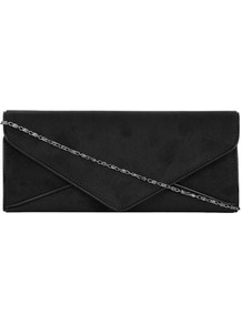 Black Envelope Clutch Bag - predominant colour: black; occasions: evening, occasion; style: clutch; length: hand carry; size: small; material: fabric; pattern: plain; finish: plain; embellishment: chain/metal