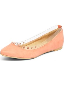 Coral Vinyl Stud Pumps - predominant colour: nude; occasions: casual, evening, work, holiday; material: faux leather; heel height: flat; embellishment: studs; toe: round toe; style: ballerinas / pumps; finish: plain; pattern: plain