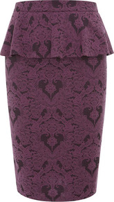 Jacquard Peplum Skirt - style: pencil; fit: tailored/fitted; waist: high rise; waist detail: peplum waist detail; predominant colour: purple; occasions: evening, work, occasion; length: just above the knee; fibres: cotton - mix; pattern type: fabric; pattern size: standard; pattern: patterned/print; texture group: jersey - stretchy/drapey