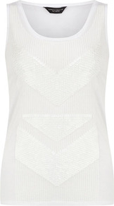 White Sequin Panel Vest - neckline: round neck; sleeve style: sleeveless; bust detail: added detail/embellishment at bust; style: vest top; predominant colour: white; occasions: casual; length: standard; fibres: polyester/polyamide - 100%; fit: body skimming; sleeve length: sleeveless; pattern type: fabric; pattern size: standard; texture group: jersey - stretchy/drapey; embellishment: sequins