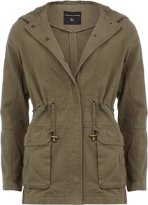 Khaki Hooded Parka - pattern: plain; length: below the bottom; style: parka; back detail: hood; fit: slim fit; predominant colour: khaki; occasions: casual; fibres: cotton - 100%; collar: shirt collar/peter pan/zip with opening; waist detail: belted waist/tie at waist/drawstring; sleeve length: long sleeve; sleeve style: standard; texture group: cotton feel fabrics; collar break: high/illusion of break when open; pattern type: fabric