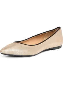 Champagne Pointed Pumps - predominant colour: nude; occasions: casual, work; material: faux leather; heel height: flat; toe: pointed toe; style: ballerinas / pumps; trends: metallics; finish: metallic; pattern: plain