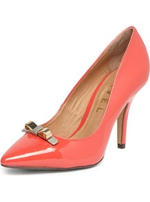 Coral Pointed Toe Court Shoe - predominant colour: coral; occasions: evening, work, occasion; material: faux leather; heel height: high; heel: stiletto; toe: pointed toe; style: courts; finish: patent; pattern: plain; embellishment: bow