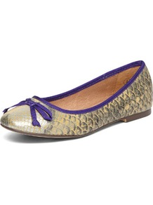 Natural Snake Ballet Pumps - predominant colour: gold; occasions: casual, work; material: leather; heel height: flat; toe: round toe; style: ballerinas / pumps; finish: plain; pattern: animal print; embellishment: bow
