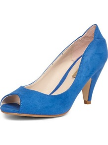 Cobalt Peep Toe Mid Courts - predominant colour: royal blue; occasions: casual, evening, work, occasion; material: faux leather; heel height: mid; heel: stiletto; toe: open toe/peeptoe; style: courts; finish: plain; pattern: plain