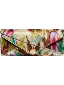 Feather Print Envelope Clutch - occasions: evening, occasion; predominant colour: multicoloured; type of pattern: standard; style: clutch; length: hand carry; size: small; material: fabric; trends: statement prints; finish: plain; pattern: patterned/print