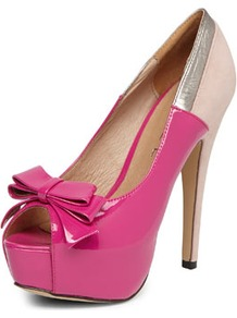Fuchsia Peep Toe Court Shoe - predominant colour: hot pink; occasions: evening, occasion; material: faux leather; heel height: high; heel: platform; toe: open toe/peeptoe; style: courts; finish: patent; pattern: colourblock; embellishment: bow