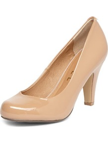 Nude Court Shoe - predominant colour: nude; occasions: casual, evening, work, occasion; material: faux leather; heel height: high; heel: standard; toe: round toe; style: courts; finish: patent; pattern: plain