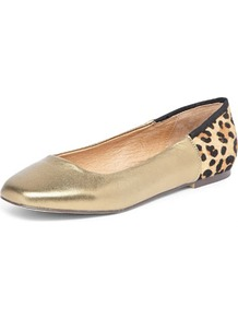 Bronze Ballet Flat - predominant colour: gold; occasions: casual, evening, work; material: leather; heel height: flat; toe: square toe; style: ballerinas / pumps; trends: metallics; finish: metallic; pattern: animal print