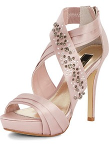 Dp Occasion Nude Gem Satin Sandal Platform - predominant colour: blush; occasions: evening, occasion; material: satin; heel height: high; embellishment: crystals; ankle detail: ankle strap; heel: platform; toe: open toe/peeptoe; style: strappy; trends: metallics; finish: plain; pattern: plain