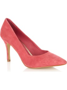 Paddy Pointed Court Shoe - predominant colour: coral; occasions: casual, evening, work, occasion; material: suede; heel height: high; heel: stiletto; toe: pointed toe; style: courts; finish: plain; pattern: plain