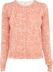 Lace Print Cardigan - neckline: round neck; predominant colour: coral; occasions: casual, work; length: standard; style: standard; fibres: cotton - 100%; fit: standard fit; sleeve length: long sleeve; sleeve style: standard; texture group: knits/crochet; trends: statement prints; pattern type: knitted - other; pattern size: standard; pattern: patterned/print