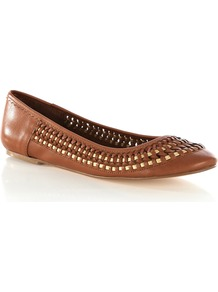 Weave Leather Ballerina - predominant colour: tan; occasions: casual, work, holiday; material: leather; heel height: flat; toe: round toe; style: ballerinas / pumps; finish: plain; pattern: plain