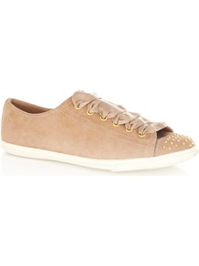 Pretty Trainer - predominant colour: camel; occasions: casual; material: suede; heel height: flat; embellishment: studs; toe: round toe; style: trainers; finish: plain; pattern: plain
