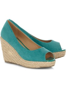 Turquoise High Espadrille Wedges - predominant colour: teal; occasions: casual, holiday; material: faux leather; heel height: high; heel: wedge; toe: open toe/peeptoe; style: standard; finish: plain; pattern: plain