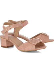 Pink Buckle Strap Block Heel Shoes - predominant colour: blush; occasions: casual, occasion, holiday; material: faux leather; heel height: mid; embellishment: buckles; ankle detail: ankle strap; heel: block; toe: open toe/peeptoe; style: standard; finish: plain; pattern: plain