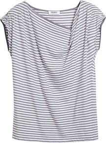Striped Ruched Shoulder Jersey Top - neckline: cowl/draped neck; pattern: horizontal stripes; predominant colour: mid grey; occasions: casual, work, holiday; length: standard; style: top; fibres: cotton - 100%; fit: loose; shoulder detail: flat/draping pleats/ruching/gathering at shoulder; sleeve length: short sleeve; sleeve style: standard; pattern type: fabric; pattern size: standard; texture group: jersey - stretchy/drapey