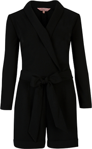 Wrap Front Playsuit - neckline: v-neck; fit: tailored/fitted; pattern: plain; waist detail: belted waist/tie at waist/drawstring; length: short shorts; predominant colour: black; occasions: evening, work, occasion; fibres: polyester/polyamide - 100%; jeans &amp; bottoms detail: turn ups; sleeve length: long sleeve; sleeve style: standard; style: playsuit; pattern type: fabric; pattern size: standard; texture group: jersey - stretchy/drapey