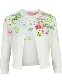 Floral Cardigan - neckline: round neck; length: cropped; shoulder detail: contrast pattern/fabric at shoulder; predominant colour: white; occasions: casual, evening, work, occasion; style: standard; fibres: silk - mix; fit: slim fit; bust detail: contrast pattern/fabric/detail at bust; sleeve length: 3/4 length; sleeve style: standard; texture group: knits/crochet; pattern type: knitted - other; pattern size: small &amp; busy; pattern: florals